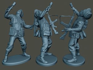 german soldier ww2 shooted 3D model