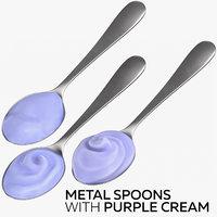 3D metal spoons purple cream
