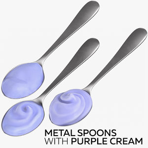 3D metal spoons purple cream
