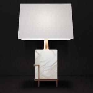 3D art-deco white marble lamp
