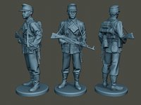 german soldier ww2 stand 3D model