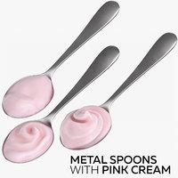 metal spoons pink cream 3D model