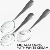 metal spoons white cream 3D