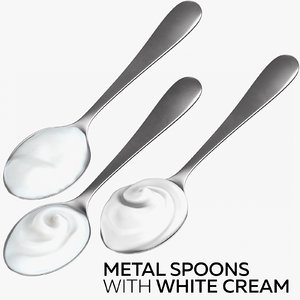 metal spoons white cream 3D