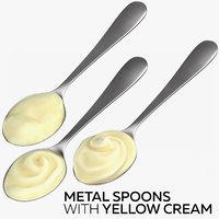 3D metal spoons yellow cream model