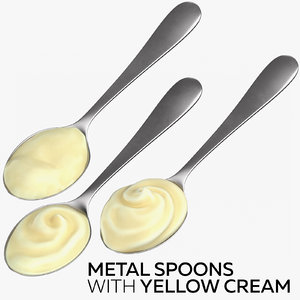 3D metal spoons yellow cream model