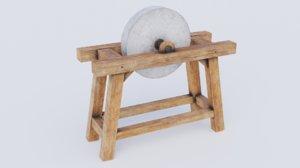 medieval grindstone stone 3D model