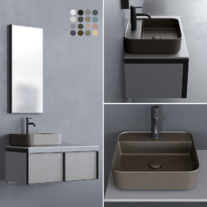 3D wall-mounted multiplo washbasin