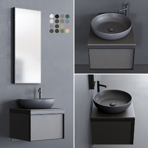 vanity multiplo washbasin bathroom mirror 3D model