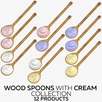 3D wood spoons cream -