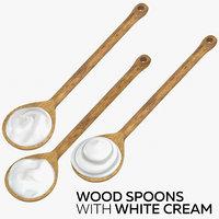 wood spoons white cream 3D model