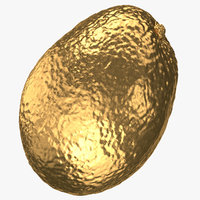3D model avocado 06 gold
