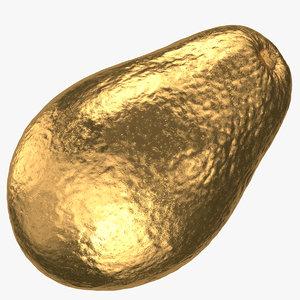 avocado hass 03 gold 3D model