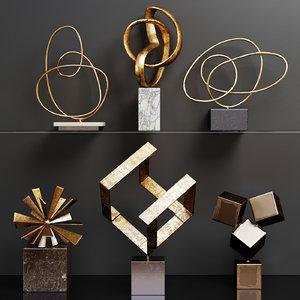 set abstract sculptures 3D model