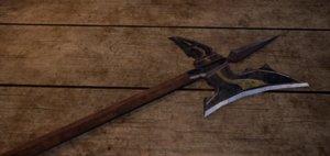 3D fantasy medieval halberd model