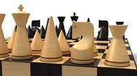 3D modern chess set model