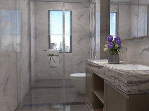 bathroom shower toilet 4000x1800 3D model