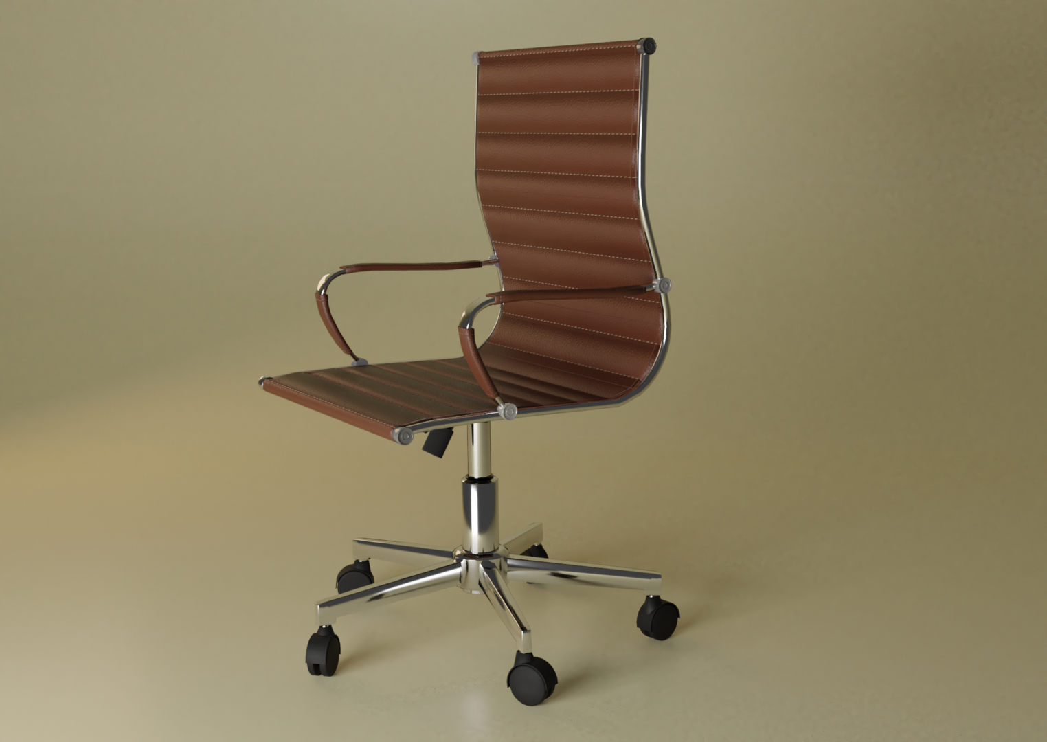 office chair leather metal model