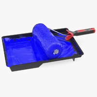 3D used paint roller tray model