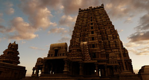 hindu india old temple 3D