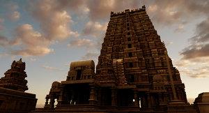 hindu india old temple 3D