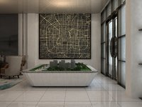 3D villa hall decorated building city