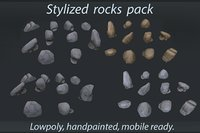 3D model stylized rocks pack stones