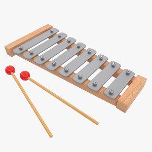 3D model xylophone kid toy