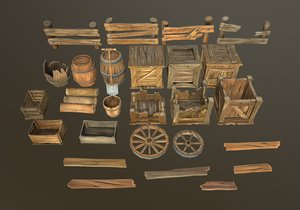 3D stylized wood props pack model