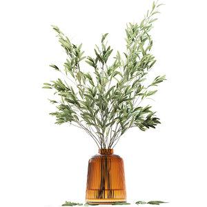 3D olive stems yellow glass vase model