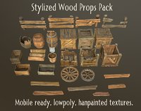 3D stylized wood props pack model
