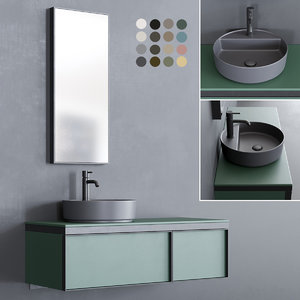 3D model wall-mounted vanity multiplo washbasin