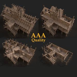3D aaa medieval slavic wooden model
