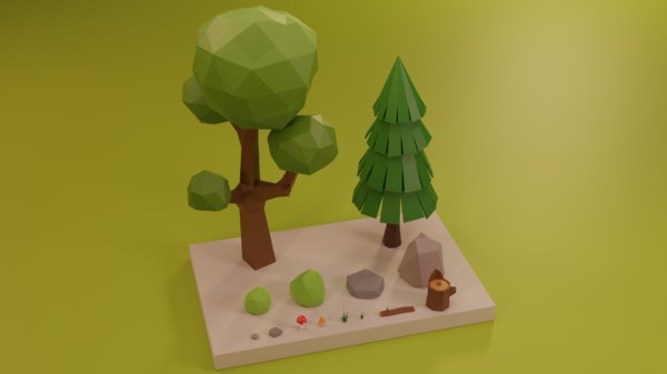 3D assets tree grass rocks