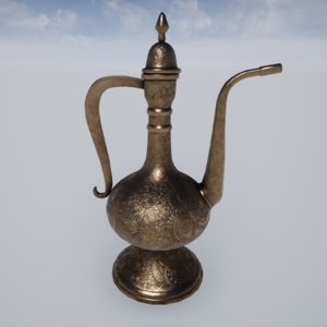 asian copper jug 3D