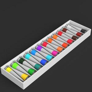 acrylic paint color set 3D model