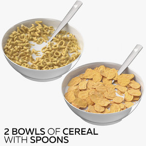 3D 2 bowls cereal spoons model