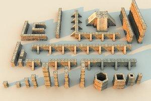 3D xochicalco wall columns mega