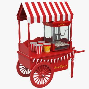 3D popcorn cart car