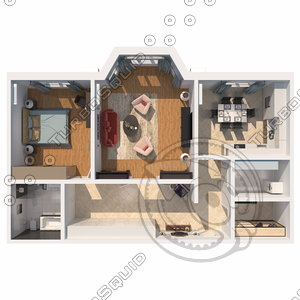 3D apartment view scene