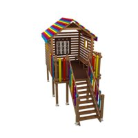 seesaw playground wooden playhouse 3D model