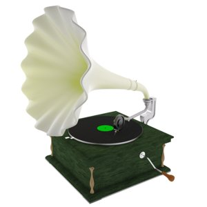 3D model old gramophone music