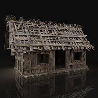 simple wooden swamp hut 3D