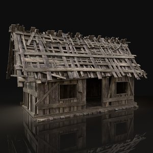 simple wooden swamp hut 3D