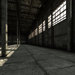 old warehouse industrial interior model