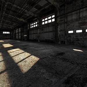 3D old warehouse industrial interior model