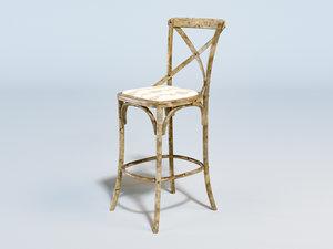 3D madeleine armless stool model