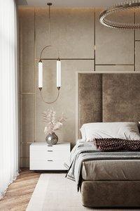 3D modern bedroom interior scene