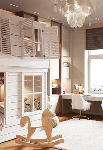kids bedroom interior scene 3D model
