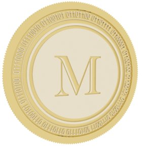 3D melon gold coin model
